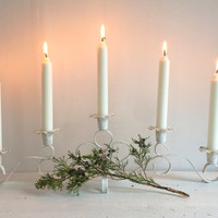 White Cottage Candelabra with Shabby Chic Painted Patina