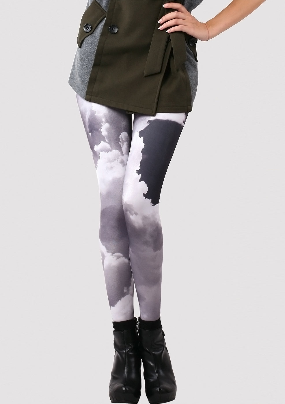 Evening Glow Cloud Print Leggings  - New Arrivals - Retro, Indie and Unique Fashion
