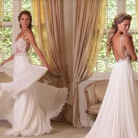 Sexy Backless Wedding Dresses A Line Chiffon And Lace Bridal Dress Spaghetti Straps Long Bridal Gown Dress Beach Wedding Dresses