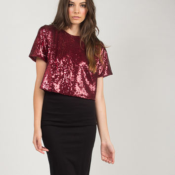 Sequin Cropped Top - Burgundy /