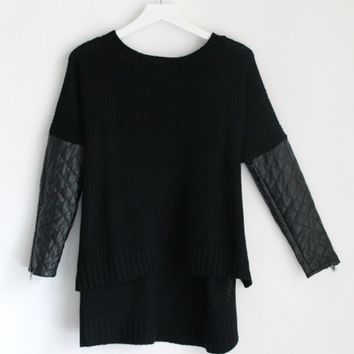 QUILTED LEATHERTTE LONG SLEEVE