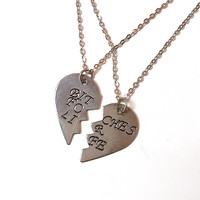 """B*tches for Life"" Best Friends Heart Necklace Set - Antiqued Silver"