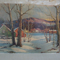 Vintage Winter Scene Museum Print By Robert Woods
