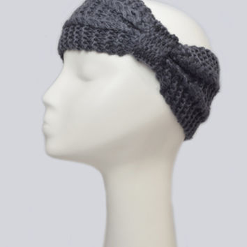 Gray Knit Head Wrap