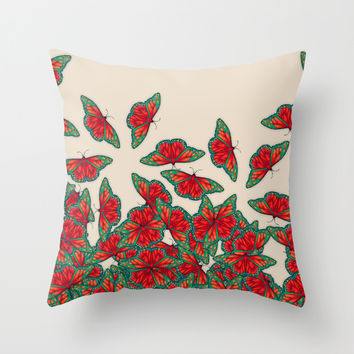 Ruby & Emerald Butterfly Dance - red, teal & green butterflies on cream Throw Pillow by Perrin Le Feuvre