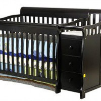 Dream On Me 4 in 1 Brody Convertible Crib with Changer in Black - 620-K