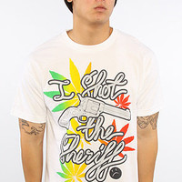 The Shot The Sheriff Tee in White and Rasta