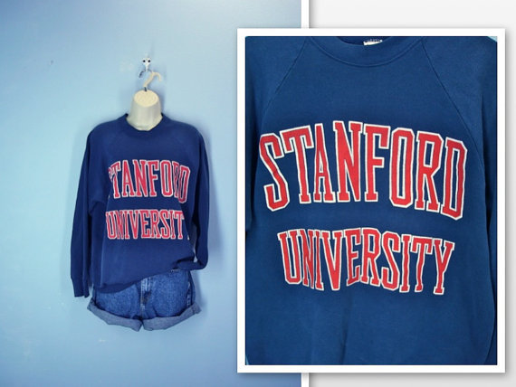 Vintage Sweatshirt / Stanford University Navy Sweatshirt / large