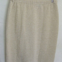 Vintage Metallic Gold Pencil Skirt