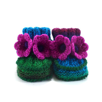 Hand Knitted Baby Booties with Crochet Bell Flowers - Green, Blue and Purple,  3 - 6 months