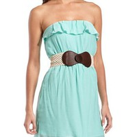 Belted Ruffle Tube Dress: Charlotte Russe
