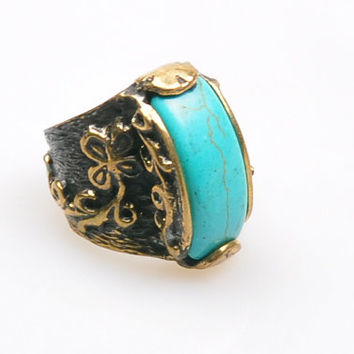 Authentic Ottoman Style Turquoise Stone Ring, Turkish Jewelry, Jewelry Findings, Boho Ring, Gypsy Style