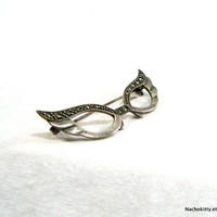 1950s Cats Eye Glasses Sterling Silver Pin, Vintage