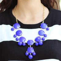 Royal Blue Bib Necklace - Furor Moda