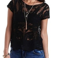 Embroidered Mesh Tee by Charlotte Russe - Black