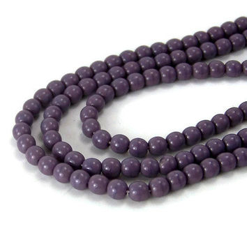 4mm round purple Czech Glass Beads, Full bead strand, 449G