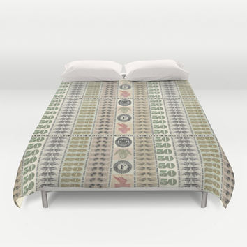 Collage of Currency Graphic Duvet Cover by Designs4america