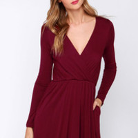 Alakazam Burgundy Long Sleeve Dress