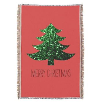 Merry Christmas tree green sparkles + text Red Throw Blanket by PLdesign