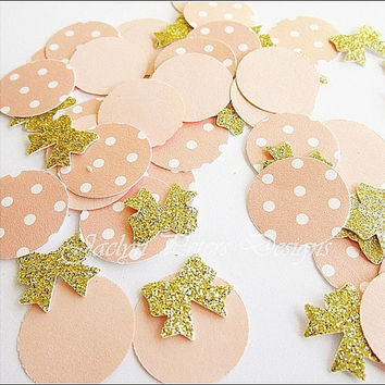 Party Confetti, Peach And Gold, Glitter Bows, Polka Dots, Wedding Decoration, Bridal Showers Supply, Birthday Table Scatter, 225 Pieces