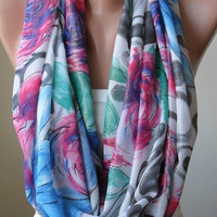 Infinty Scarf - Circle Scarf  -  Loop Scarf - Colorful -Blue and  Pink Scarf with Flowers  - Chiffon Fabric
