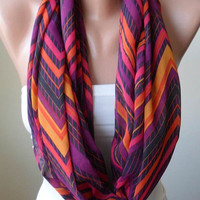 Infinty Scarf - Circle Scarf  -  Loop Scarf - Colorful Zigzag Scarf  - Chiffon Fabric