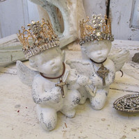 Cherub statue figurine set with handmade crowns French Nordic chalky white angels distressed home decor Anita Spero Design