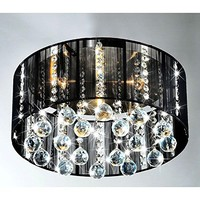 This Jasmine Crystal Chandelier creates a glamorous sparkling pendant that complements your modern look. Made of metal, clear crystal & black fabric, stands H8in W17in and uses 5x40W lightbulb type G9.