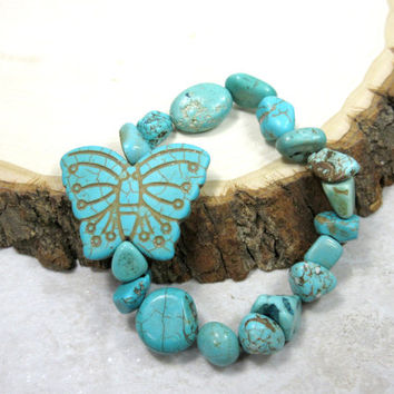 Turquoise Butterfly Bracelet, Rustic Turquoise Gems