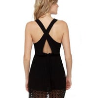 Cute Black Dress - Lace Dress - $42.00