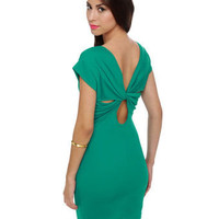 Teal Dress - Body Con Dress - Short Sleeve Dress - $35.50