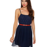 Tulle Dress - Navy Blue Dress - Lace Dress - $54.00