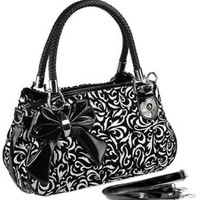 Amazon.com: TWEED Black & White Floral w/Bow Satchel Bowler Hobo Handbag Purse Weave Double Handles: Clothing