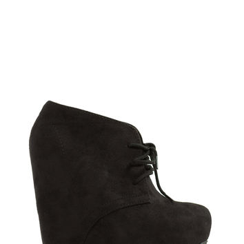 Laced With Faux Suede Wedge Booties