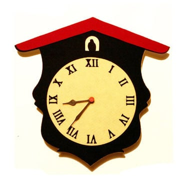 Black and White Clock - Cuckoo Clock Home Decor - Retro Wall Clock