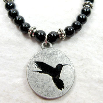 Hummingbird Bracelet with Obsidian Stone Beads