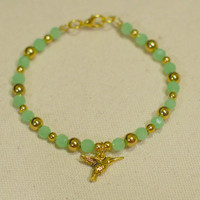Green & Gold Hummingbird Beaded Bangle Bracelet - Faceted Light Green Beaded Bangle-Style Bracelet w/ Gold Accents and Hummingbird Charm