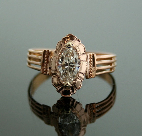 Antique Engagement Ring Rose Gold and from SITFineJewelry on