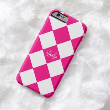 Pink And White Diamond Print Case