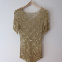 Shaped - Vintage Gold Beaded Crochet Blouse