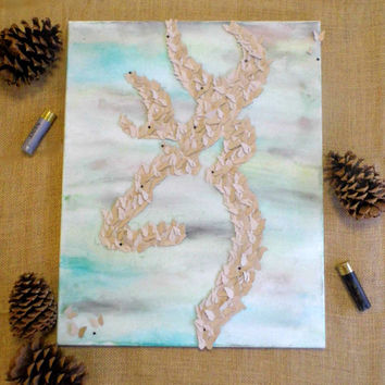 Browning Symbol- 3D Butterfly Wall Art, Deer, Home Decor, Hunting, Camouflage, Camo, Unique Gifts, Country, Kid's Room (16x20)