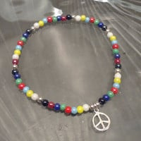 Peace Sign Charm Beaded Anklet, Glass Beaded Stretch Anklet, Multicolor Anklet
