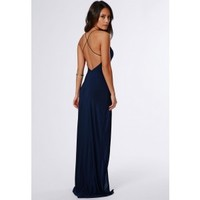 Missguided - Nora Navy High Neck Maxi Dress