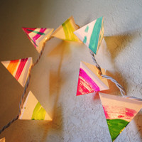 Rainbow Neon Garland - Paper Pyramid Lanterns - Short Strand (11ft)