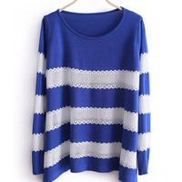 Women New Style Autumn Sweet Cute Stripe Scoop Long Sleeve A Line Blue Knitting Sweater Cardigans One Size@WXM963bl $18.66 only in eFexcity.com.
