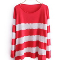 Women New Style Autumn Sweet Cute Stripe Scoop Long Sleeve A Line Red Knitting Sweater Cardigans One Size@WXM963r $18.66 only in eFexcity.com.