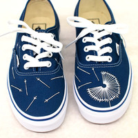 Hand Painted Dandelion on Navy Vans Authentic