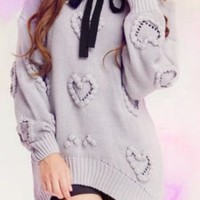 Light Grey Long Sleeve Heart Embroidery Pullovers Sweater - Sheinside.com