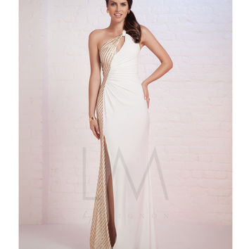 LM by Mignon White & Gold Asymmetrical One Shoulder Gown Prom 2015