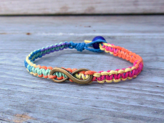 Infinity Charm Hemp Bracelet Macrame Rainbow Made To Order